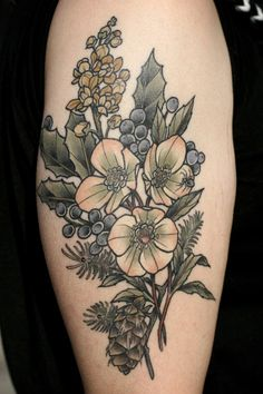 Healed photo of a SUPER FUN tattoo I did awhile back. Hellebore, Oregon grape, Douglas fir, and a spider buddy for Jenn, who is awesome. Thanks for coming to in to let me get this healed photo! Always so nice to see work all settled in!