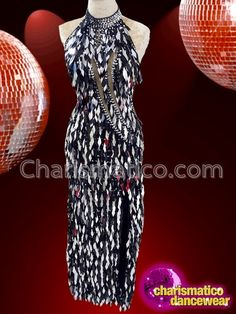 Dazzling Black And Silver Jumbo Sequin Diva Backless Gown With Beaded Collar Drag Queen Costumes, Drag Queen Outfits, Backless Gown, Sequin Gown, Beaded Collar, Pageant Gowns, Silver Sequin, Dance Wear, Diva