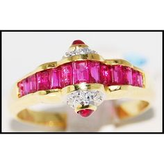 http://rubies.work/0506-sapphire-ring/ 18K Yellow Gold Diamond and Unique Natural Ruby Ring by BKGjewels