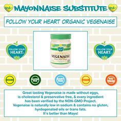 I absolutely love Follow Your Heart organic Vegenaise. It tastes great on just about anything. I highly recommend eating this delicious product!! It's way better than regular mayo. Can be found at most grocery stores.   #followyourheart #organicvegenaise #vegenaise #organic #glutenfree #vegan #dairyfree #fatfree #nongmo #delicious #betterthanmayo #healthy #eatvegenaise #lovevegenaise