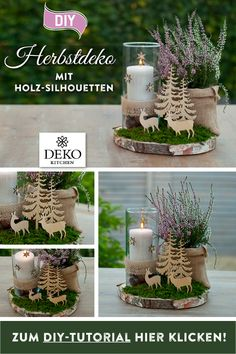 DIY: hübsche Herbstdeko für den Tisch This DIY autumn decoration for the table can be implemented quickly and easily. This pretty table decoration is suitable for indoors or outdoors and can be transf Fall Diy, Fall Home Decor, Autumn Trees, Diy Table, Fall Crafts, Amazing Gardens, Diys, Creations, Table Decorations