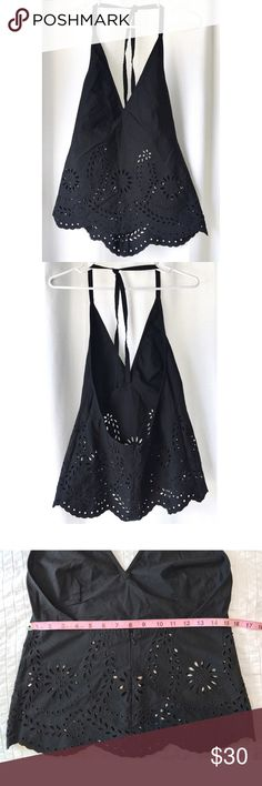 """DKNY Eyelet Detail Halter Top Hot stuff! Lovely, black, 100% cotton, halter top with lace-like eyelet detail at the midsection. Amazing for summer. Like-new condition. Measurements while laid flat - Bust: 15"""", waist 15""""—Size 10 DKNY Tops Tank Tops"""