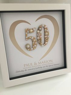 Fantastic No Cost Golden Wedding Anniversary Gift - Anniversary Gift - Personalised Wedding Anniversary Gift - Golden Anniversary Frame - Carola Ideas Skilled gifts usually are gifts that can be fond of all people in birthdays, wedding anniversa Golden Wedding Anniversary Gifts, Anniversary Gifts For Parents, Wedding Gifts, Anniversary Ideas, Second Anniversary, Anniversary Frames, 50th Anniversary Centerpieces, 50th Wedding Anniversary Cakes, Anniversary Invitations