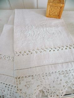 Monogrammed Lace Hand Towels