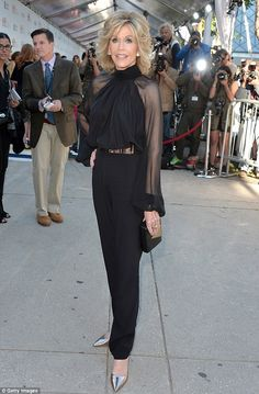 Super-star! Two-time Oscar winner Jane Fonda posed in a fetching black pantsuit Sunday at ...