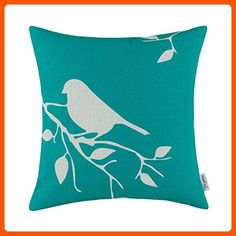 CaliTime Throw Pillow Cover Vintage Birds Branches, 18 X 18 Inches, Teal - Lovley creatures (*Amazon Partner-Link)