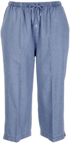 Coral Bay Petite Drawstring Denim Capris Large Petite Light wash * Find out more about the great product at the image link.(This is an Amazon affiliate link and I receive a commission for the sales)
