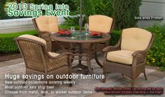 Max Furniture 2013 Spring Into Savings Event   5pc Veranda Outdoor Patio Round Wicker Glass Top Dining Table Set by Agio