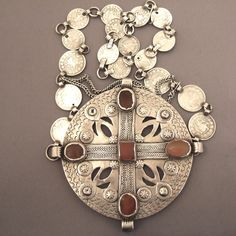 Turkmenistan | A splendid old silver Yomud ornament with old Persian coins | © Micheal Halter