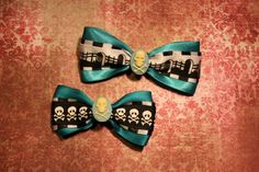 Death Skulls Hair Bows  Turquoise by RiotGearHairBows on Etsy, $10.00