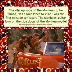 The Monkees Memes David Jones Mike Nesmith Peter Tork Micky Dolenz 1960's Monkees Funny Monkees Facts Fun Facts Monkees Trivia  InductTheMonkees Rock And Roll Hall Of Fame Monkees Its a Nice Place To Visit Monkeemobile