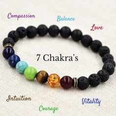 """Just bought this one .... Chakra Bracelet Benefits and Meaning! The Sanskrit word Chakra literally translates to """"wheel"""". In yoga and meditation this is referring to the wheels throughout your body that transform into energy, throughout your entire body."""