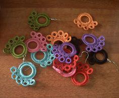 colorful earrings crochet earrings hoop earrings by GuruMIme, $8.00