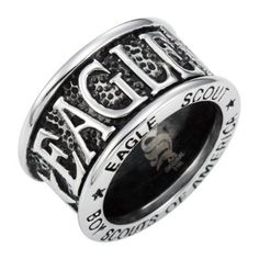 Amazon.com: Brand New Mens Boy Scouts of America Eagle Scout Ring Crafted In Stainless Steel Comes In a Velvet ring Box: Jewelry