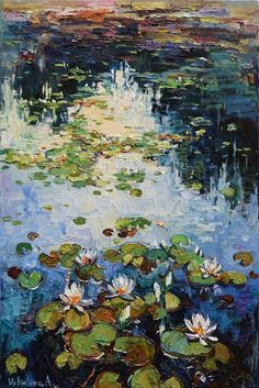 Buy Water lilies Original Oil painting 60 x 90 cm, Oil painting by Anastasiya Valiulina on Artfinder. Discover thousands of other original paintings, prints, sculptures and photography from independent artists. Simple Oil Painting, Oil Painting Texture, Oil Painting Abstract, Painting Tips, Painting Lessons, Painting People, Painting Wallpaper, Watercolor Artists, Painting Videos