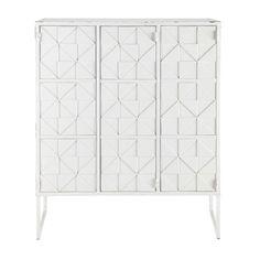 Cabinet de rangement en métal blanc L 102 cm