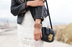 black leather jacker white lace dress sisters outfit michael kors