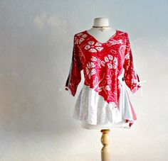 Plus Size Bohemian Top Red Tunic Shirt 1X Eco Clothing Tattered Tunic Open Sleeves Gypsy Top