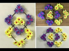 Paper Flower Wall Hanging : DIY Wall Decoration Ideas How to make wall hanging with paper flower and glue only. Cheap wall decor ideas at home. Paper Wall Hanging, Paper Wall Decor, Wall Hanging Crafts, Hanging Flower Wall, Diy Wall Decor, Paper Decorations, Paper Flower Decor, Flower Wall Decor, Flower Crafts
