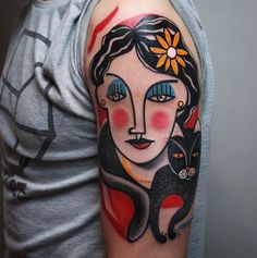 Tattoo artist Peter Aurisch creates bold, beautiful cubist tattoos similar to the works of Picasso