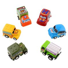 Toys, 6pcs/Set Mini Pull Back Cars/Trucks