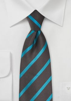 Espresso Brown and Bright Teal Stripe Tie