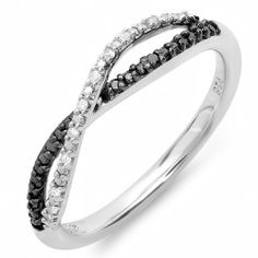 0.10 Carat (ctw) Sterling Silver Round Black & White Diamond Anniversary Wedding Band Swirl Infinity Matching Ring DazzlingRock Collection. $59.00. Diamond Weight : 0.1 ct tw.. Weighs approximately 2.27 grams. Crafted in 925 Sterling-silver. Diamond Color / Clarity : I-J and Black / I2-I3. Items is smaller than what appears in photo. Photo enlarged to show detail