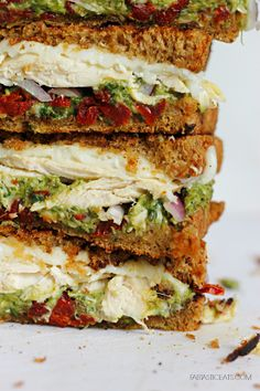 Chicken, Sun-dried Tomato, & Asparagus Pesto Sandwich - Fabtastic Eats
