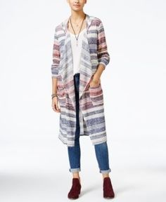 American Rag Striped Duster Cardigan, Only at Macy's - Blue