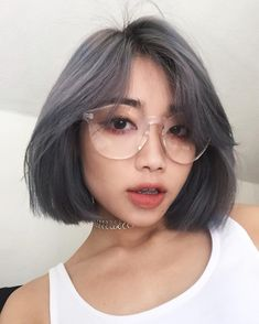grey coloured bob hairstyle