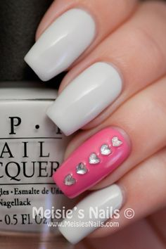 White Manicure with Pink & Rhinestone Hearts Accent Nail