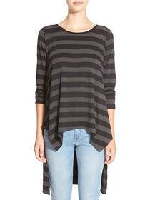 junior women's bp. stripe high/low tunic tee, size x-small - black
