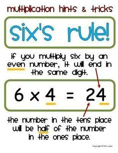 Multiplication trick - homeschooling math - math tips maths times tables, math tables, math Math For Kids, Fun Math, Math Activities, Math Help, Math 2, Calculus, Algebra, Multiplication Tricks, Fractions