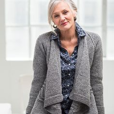 WP 7, Seine Cardigan Pattern – Zigzagging cables span the width of this open cardigan. Seine is a casual layering piece that is eye-catching in detail, but simple in execution.