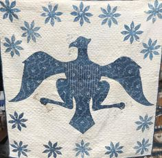 "FDR'S NRA- NATIONAL RECOVERY ACT- BLUE AND WHITE EAGLE CRIB QUILT   33""X32"""