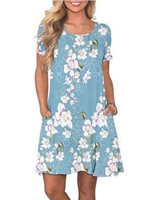 online shopping for Fantastic Zone Women's Casual Summer T Shirt Dresses Short Sleeve Swing Dress Pockets from top store. See new offer for Fantastic Zone Women's Casual Summer T Shirt Dresses Short Sleeve Swing Dress Pockets Casual T Shirt Dress, Casual Dresses, Short Sleeve Dresses, Floral Dresses, Women's Casual, Casual Summer, Tank Dress, Casual Party, Bridal Dresses