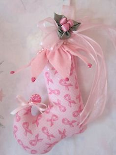 CoLLecTiBLle Shabby pink ChrisTmas*FOR THE CURE*ELF STOCKING Christmas OrNAMeNT