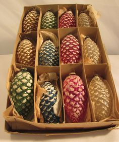 Box of 12 Vintage Japan Pinecone Snow Covered Glass Christmas Ornaments