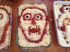 Skull and Scary Face lasagnas for Halloween meals