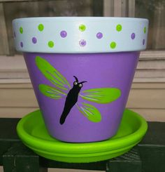 Hand Painted Dragonfly Design on a Terra Cotta Clay Pot Spring Summer Pot Porch Decor Clay Pot Projects, Clay Pot Crafts, Cement Crafts, Flower Pot Art, Flower Pot Crafts, Painted Plant Pots, Painted Flower Pots, Lobster Crafts, Dragonfly Wall Art
