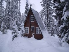 A-frame at Scottish Lakes High Camp in the Central Cascades, Washington.