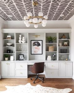 The Most Unexpectedly Beautiful Place to Put Wallpaper? Your Ceiling – Home Office Wallpaper Home Office Space, Home Office Design, Home Office Decor, House Design, Home Decor, Office Den, Black Office, Office Spaces, Office Wallpaper