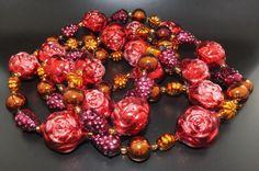 Gablonzer Christbaumschmuck - Weihnachtsbaumkette 180cm - Rot Lila Gold