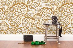 Oh Joy, gold floral wall paper