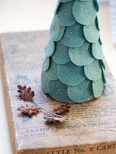 Family Friendly Winter Decorating: Felt Petal Tree Layer some felt circle petals onto a foam tree form with straight pins (I would also add some sequins prior to pushing in the pins), and add this classy craft to your holiday table or mantle.