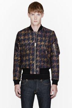 PAUL SMITH  Khaki Houndstooth Bomber Jacket