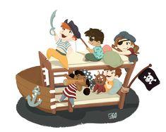 Pirateship   Kids having fun dressed as pirates  Kids illustration by S.K.Y. van der Wel