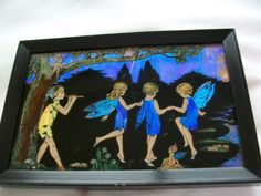 VINTAGE ART DECO BUTTERFLY WING PICTURE RARE FAIRIES & PIXIES | eBay, sold for £300.00 / Measures 6 inches x 4 inches.