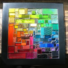 Rainbow Squared Framed Mosaic by Margaret Almon Rainbow Art, Color Theory, Light Colors, My Arts, Frame, Crafts, Magic, Graphics, Inspiration