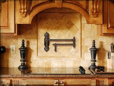 Waterstone Satin Nickel Towson Pot Filler Faucet Wall Mount with Single Lever Handle Kitchen Cabinets Decor, Kitchen Backsplash, Rustic Backsplash, Backsplash Ideas, Kitchen Ideas, Hells Kitchen, Modern Farmhouse Kitchens, Farmhouse Kitchen Decor, Layout Design